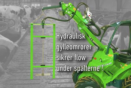 Hydraulisk gylleomrører fra Avant Danmark sikrer flow under spalterne