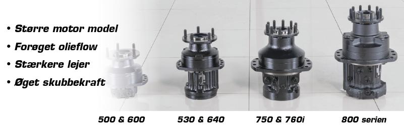 modellerne fra 800 serien har en større motor end de resterende minilæssere