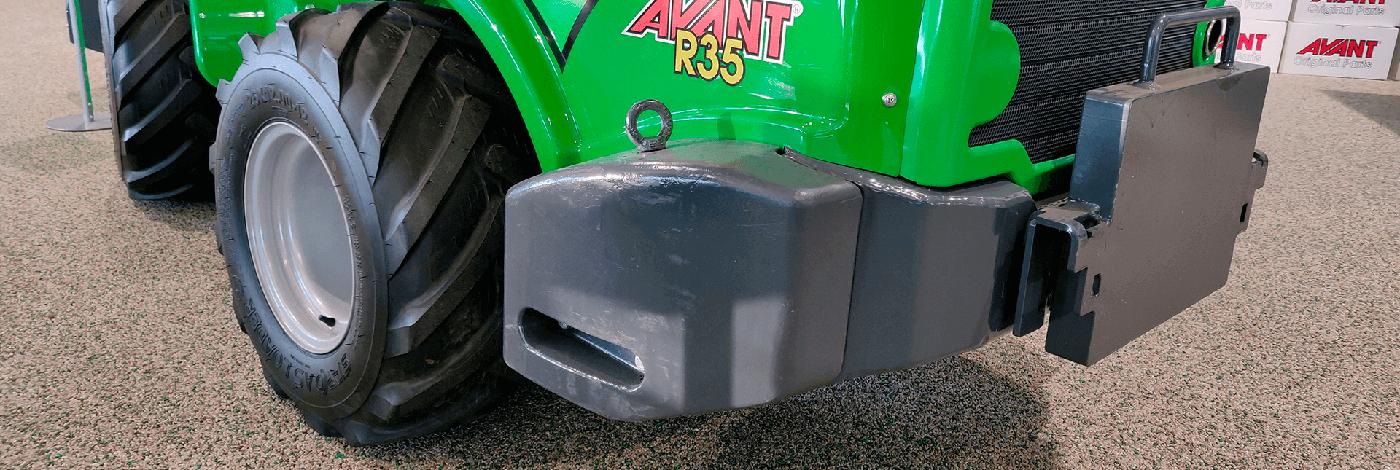 Sidevægtklodser 180kg til stabilisering og øget løftekapacitet på AVANT minilæsser